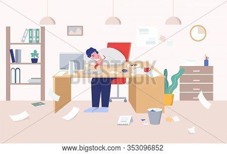 Tired Man In Suit Sleeping On Desk