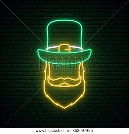 Neon Sign Of Irishman In Green Hat And Red Beard. Happy St. Patricks Day. Vector Illustration.