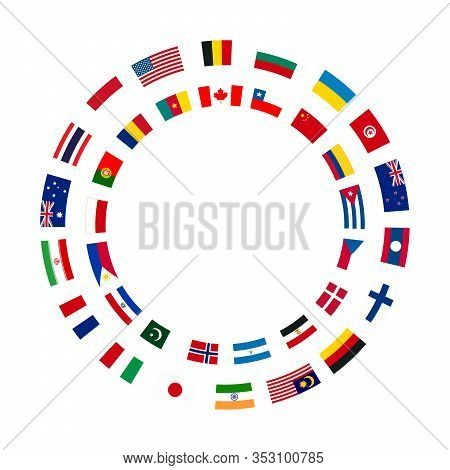 A Lot Of Flags Of Sovereign States Arranged In Two Circles On A White Background