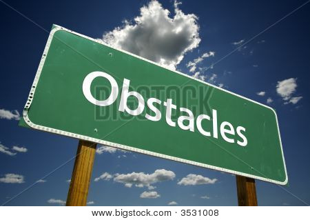 Obstacles Road Sign