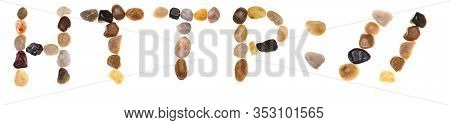 Words Http:// Handmade With Stones (boulders). Collection Words With Stones. Isolated On White Backg