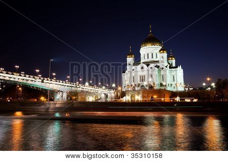 Orthodox church of Christ the Savior at night Moscow