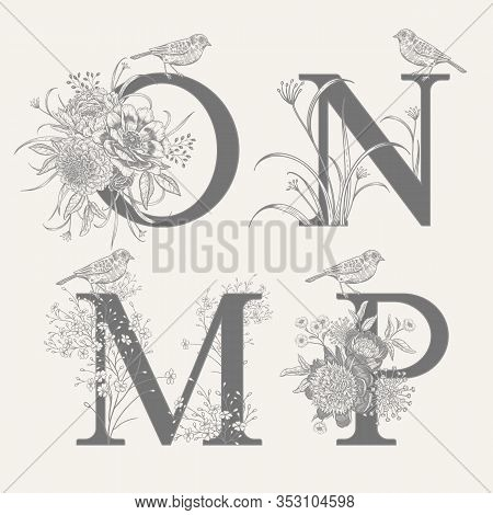 Letters O N M P, Flowers Peonies, Decorative Herbs And Birds Isolated Set. Vector Decoration. Black