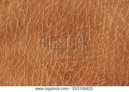 Texture Of Genuine Leather Close-up, Nubuck Suede, Brown Color Print. For Your Background, Backdrop,