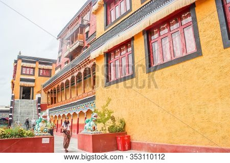 Thiksey, Ladakh, India- Dated:30 July, 2019- Orange Painted Main Gompa Building At Thiksey Monastery