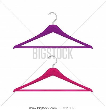 Realistic Wooden Clothes Hanger Set Isolated On White. Saturated Pink And Purple Hangers. Vector Ill