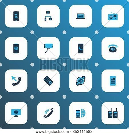 Telecommunication Icons Colored Set With Fm, Selfie Stick, Call From Smartphone And Other Blog Eleme