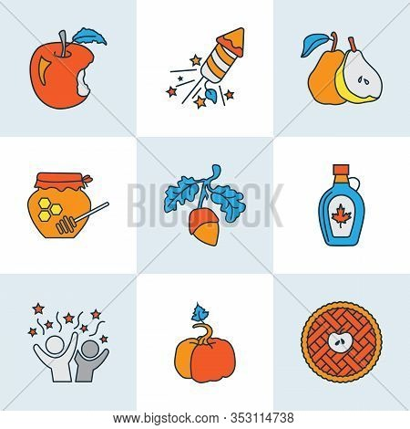 Festival Icons Colored Line Set With Pumpkin, Maple Syrup, Pear And Other Gourd Elements. Isolated V