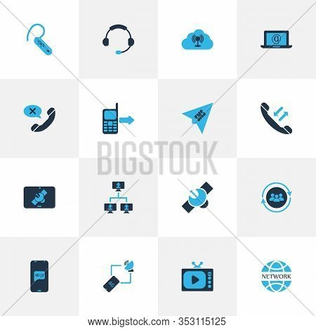 Telecommunication Icons Colored Set With Internet, Tv, Cancel Call And Other Call From Mobile Elemen