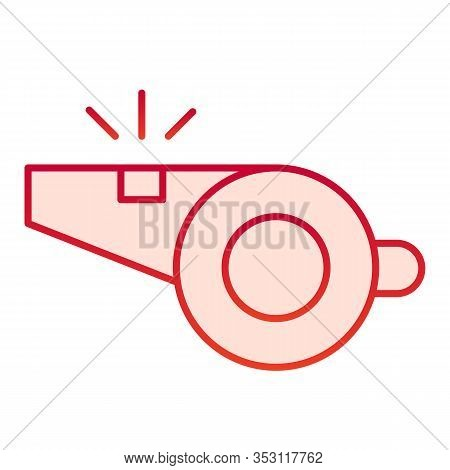 Whistle Flat Icon. Referee Whistle Vector Illustration Isolated On White. Tool Gradient Style Design