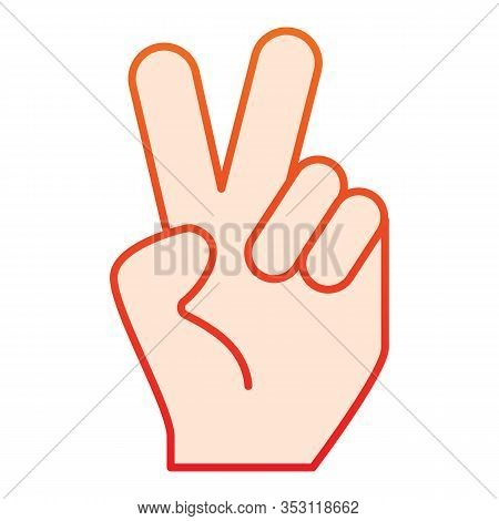 Hand Gesture Peace Flat Icon. Hand With Two Fingers Up Vector Illustration Isolated On White. Peace