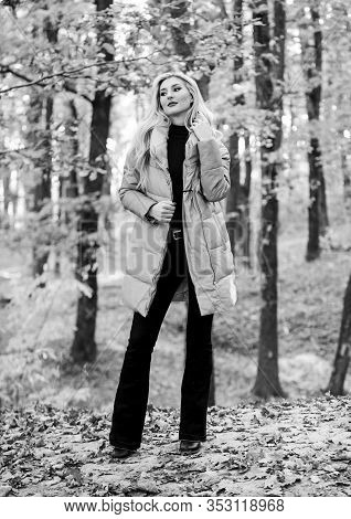 Fall Fashion Concept. Outfit Prove Puffer Coat Can Look Stylish. Jackets Everyone Should Have. Girl