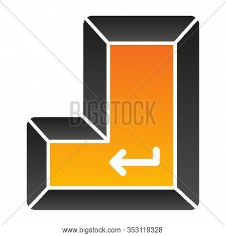 Enter Key Flat Icon. Enter Button Vector Illustration Isolated On White. Keyboard Gradient Style Des