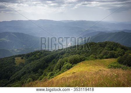 Colorful Place In The Caucasus Mountains. Oni. Racha. Beautiful Outdoor Scene In The Upper Racha