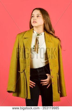 Stylish Looking Girl. Small Girl Wear Autumn Jacket. Retro Fashion Model. Beauty And Fashion. Lookin