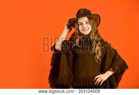 Vintage Concept. Confident And Ambitious. Teen In Hat. Stylish Looking Girl. Small Girl Wear Autumn