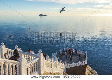 Benidorm Spain, December 25, 2019: Beautiful View To Mediterranean Balcony, Benidorm Island And Medi
