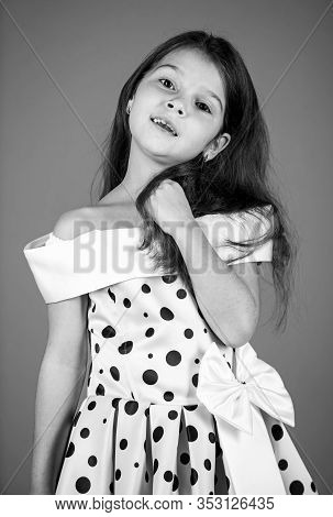 Fashion Created To Enjoy. Small Fashion Model Red Background. Little Child With Fashion Look. Cute G