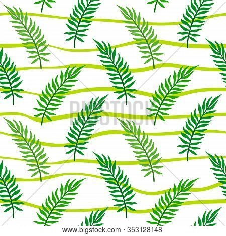 Palm Leaf Seamless Pattern. Areca Leaves Vector Illustration Isolated On White Background.