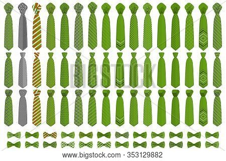 Illustration On Theme Big Colored Set Neckties Different Types, Bow Tie Various Size. Necktie Consis