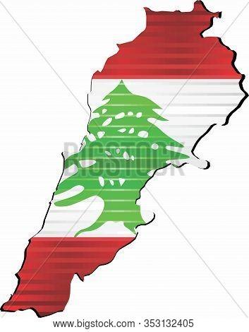 Shiny Grunge Map Of The Lebanon - Illustration,  Three Dimensional Map Of Lebanon