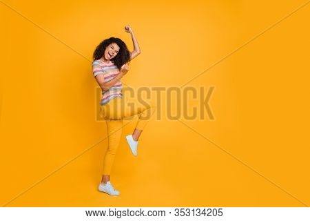 Full Length Body Size View Of Nice Attractive Cheerful Cheery Ecstatic Crazy Overjoyed Wavy-haired G