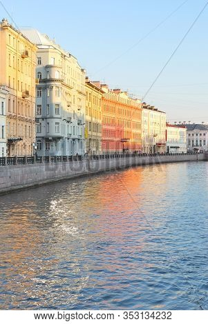 Russia, St. Petersburg. Fontanka River Embankment In A Sunny Spring Evening
