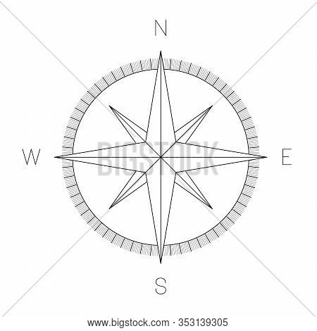 Compass Rose - Nautical Chart. Travel Equipment Displaying Orientation Of World Directions - North,