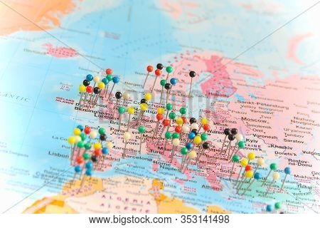 Pushpins All Over A Map Of Europe And Some Of Africa