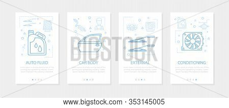 Vector Four Vertical Mobile Banners For Auto Service - 04
