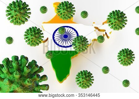 Contagious Hiv Aids, Flur Or Coronavirus With India Map. Coronavirus From Chine. 3d Rendering