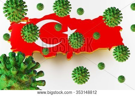 Contagious Hiv Aids, Flur Or Coronavirus With Turkish Map. Coronavirus From Chine. 3d Rendering