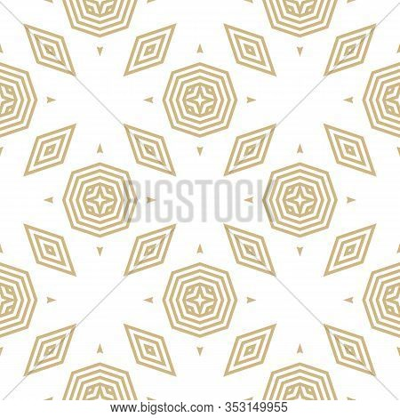 Golden Vector Geometric Seamless Pattern. Stylish Linear Background With Lines, Stripes, Triangles,