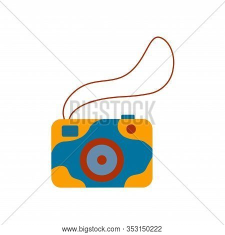 Stylish Camera With Blue And Yellow Print And Rope For Easy Carrying. A Portable Gadget For Creating