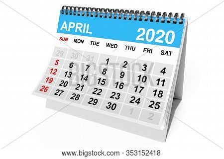 2020 Year April Calendar On A White Background. 3d Rendering