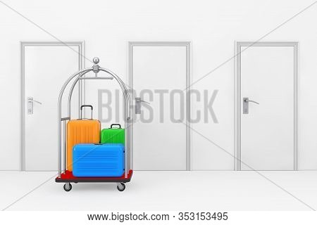 Large Multicolour Polycarbonate Suitcases In Silver Luxury Hotel Luggage Trolley Cart In Front Of Ho
