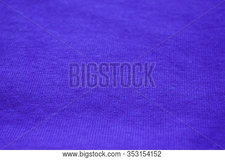 Blue Blank Fabric Texture Background. Empty Blue Cloth Surface, Simple Cotton Material Canvas, Color