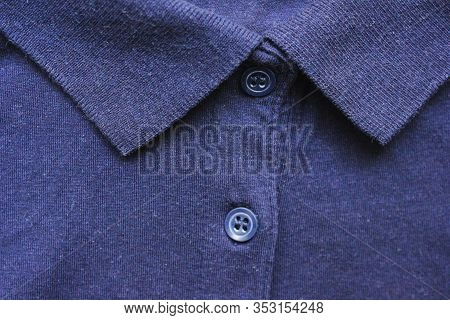 Blue Polo Shirt Close Up Top View. Classic Collar Neck With Buttons T-shirt, Dark Blue Colour Button