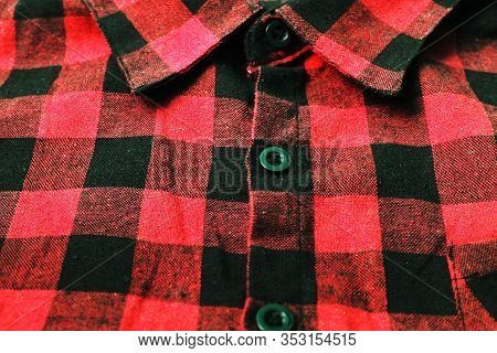 Plaid Shirt Checkered Pattern Close Up Top View. Casual Flannel Shirt, Stylish Unisex Clothes. Light