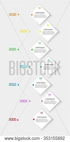 Modern Business Vertical Timeline Process Chart Infographics Template. Flat Infographic Design Templ