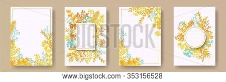 Wild Herb Twigs, Tree Branches, Flowers Floral Invitation Cards Collection. Bouquet Wreath Creative