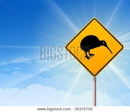 Kiwi Bird Yellow Sign on Blue