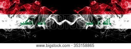 Iraq, Iraqi Vs Iraq, Iraqi Smoky Mystic Flags Placed Side By Side. Thick Colored Silky Smokes Flags