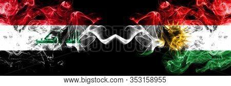 Iraq, Iraqi Vs Kurdistan, Kurdish Smoky Mystic Flags Placed Side By Side. Thick Colored Silky Smokes
