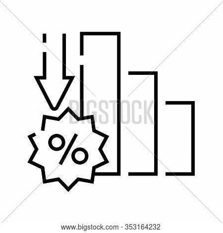 Interest Rate Decline Line Icon, Concept Sign, Outline Vector Illustration, Linear Symbol.