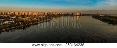 Kiev, Ukraine - May 13, 2019. Panoramic View Of Dnieper River At Sunset. Drone View On Dnieper River
