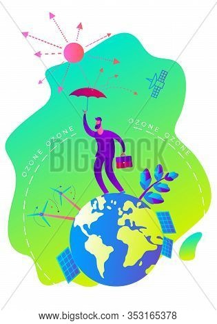 Ecological Illustration. Depletion Of The Ozone Layer. Ozone Hole. Man With An Umbrella Covers Plane