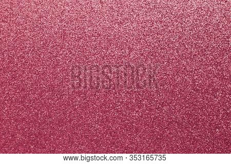 Tinsel Texture, Shiny Grainy Background, Pink Sparkles. Material Pattern, Fabric Of Metallic Color,