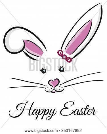 Easter Bunny Cute Vector Illustration Drawn By Hand. Bunny Face, Ears And Tiny Muzzle With Whiskers