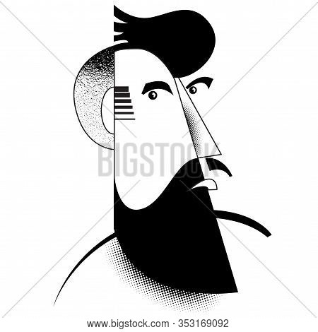 A Bearded Abstract Tough Guy Or Bad Guy.  Great For Manly Poster, Flyer Or Ad.